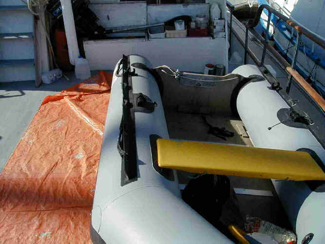 Inflatable Boat Paint restoration for repairing and painting